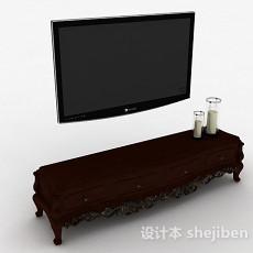 棕色欧式风格雕花电视柜3d模型下载