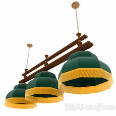 欧式风格绿色复古吊灯3d模型下载