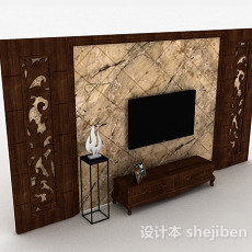 中式原木色木质雕花电视柜3d模型下载