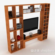 现代风格浅棕色木质展示柜3d模型下载