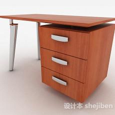 棕色木质办公桌3d模型下载