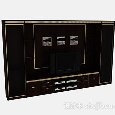 欧式时尚黑色木质电视背景墙3d模型下载