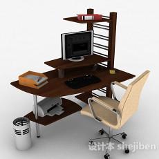 木质棕色书桌3d模型下载