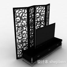 欧式风格黑色雕花电视柜3d模型下载