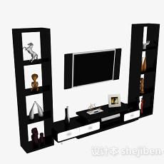 现代风格黑色电视柜和展示柜3d模型下载