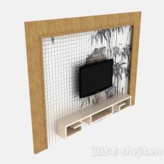 白色简约电视柜别景墙3d模型下载