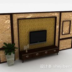 中式风格大理石花纹电视背景墙3d模型下载