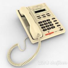 黄色家庭电话机3d模型下载