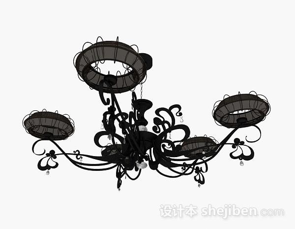 欧式风格黑色金属造型吊灯