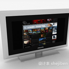 灰色电视机3d模型下载