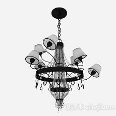 新古典家居黑白吊灯3d模型下载