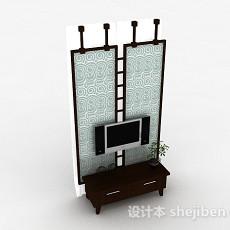 中式风格木质屏风电视柜3d模型下载