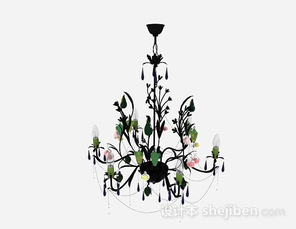 欧式风格黑色金属半梨形吊灯