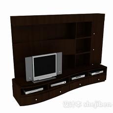 现代深棕色木质电视背景墙3d模型下载