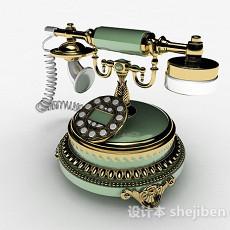 绿色复古电话机3d模型下载