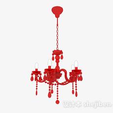 欧式红色吊灯3d模型下载