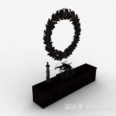 欧式风格黑色雕花木质储物柜3d模型下载