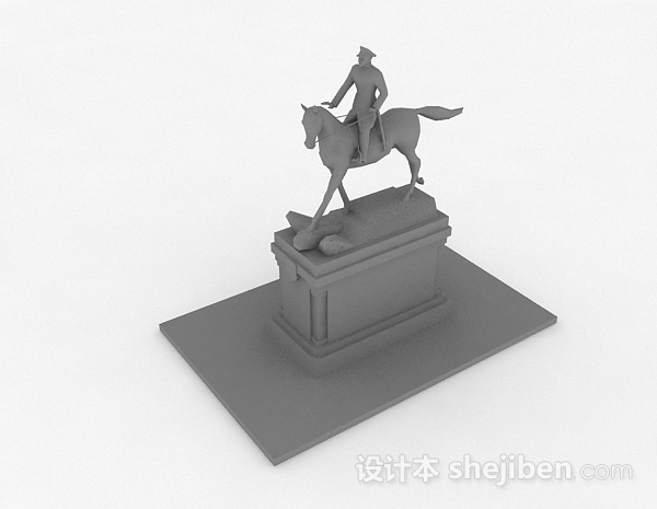 现代风格灰色将军骑马摆件品