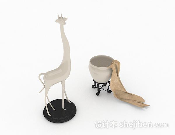 现代风格白色长颈鹿摆件