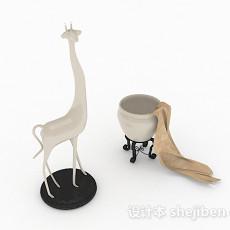 现代风格白色长颈鹿摆件3d模型下载
