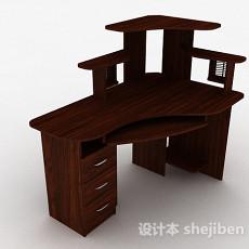 深棕色简约书桌3d模型下载