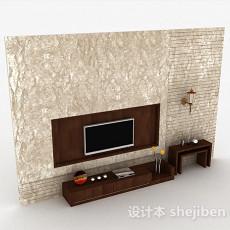 现代风大理石电视背景墙3d模型下载