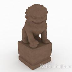 中式风格棕色石质雕刻石狮3d模型下载