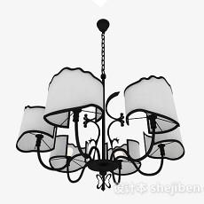 欧式风格黑色造型客厅吊顶3d模型下载
