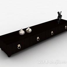 中式风格黑色木纹电视柜3d模型下载