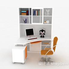 白色书桌柜3d模型下载