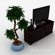 欧式风格木质黑色电视柜3d模型下载