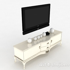 欧式白色木质雕花电视柜3d模型下载