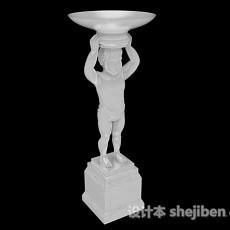 欧式风格白色雕刻儿童托盘装饰图3d模型下载