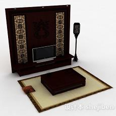 中式传统木质雕花电视背景墙3d模型下载