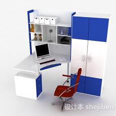 蓝白色学生书桌柜3d模型下载