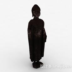 东南亚风格石质佛教僧侣雕塑3d模型下载
