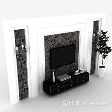 现代风格木质黑色电视柜3d模型下载