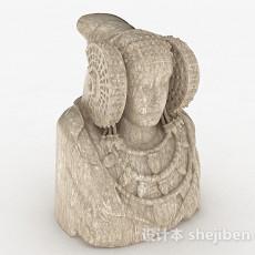 欧式风格石头雕塑贵女3d模型下载