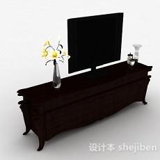 中式风格黑色雕花电视柜3d模型下载