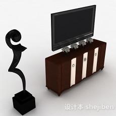 欧式风格棕色雕花电视柜3d模型下载