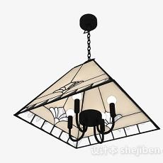 中式锥形客厅吊灯3d模型下载