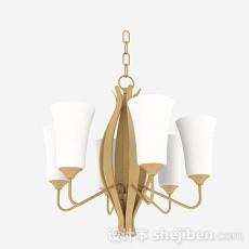 欧式风格金属梨形客厅吊灯3d模型下载