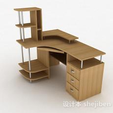 棕色简约书桌3d模型下载