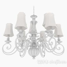 白色古典吊灯3d模型下载