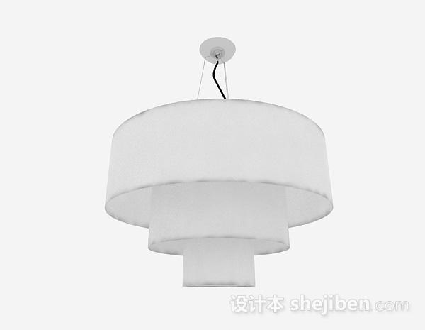 现代风格白色圆柱状三层吊灯