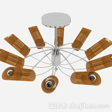 现代风格棕色客厅圆形吊灯3d模型下载