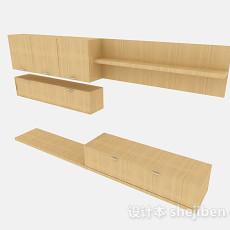 黄色木质电视柜3d模型下载