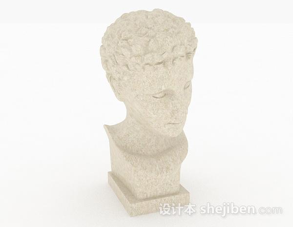 欧式风格白色石膏雕塑人物摆件