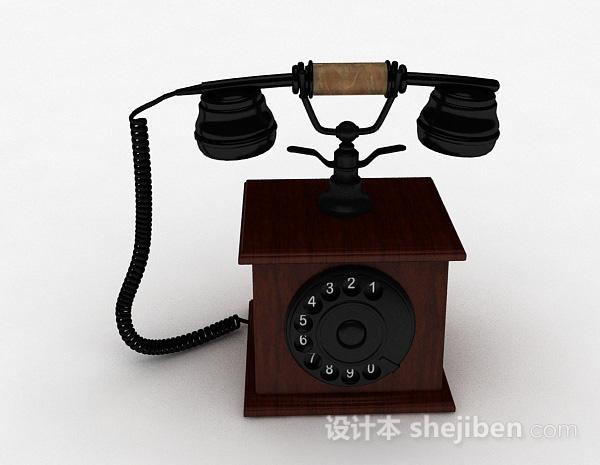 欧式复古电话机3d模型下载