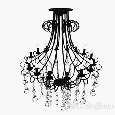 欧式古典黑色吊灯3d模型下载